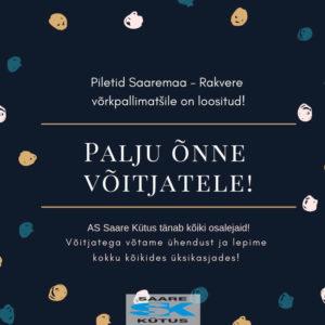 Piletid Saaremaa - Rakvere võrkpallimatšile on loositud! 3´d